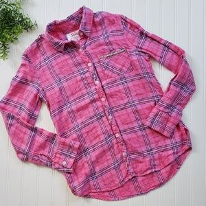 Justice Pink Flannel Plaid Button Down size 12